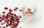 Cup Of Rose Flower Tea