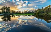 Wide Angle River Clouds Reflection