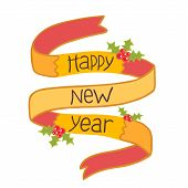Happy new year hand drawn ribbon with mistletoe