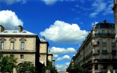stock photo of ziggurat  - Endless blue skies taken on a stroll on a beautiful day in Paris France - JPG