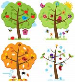 image of house woods  - Vector Set of Four Seasons Trees with Birds - JPG