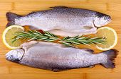 Two Fresh Whole Trout, Lemon And Rosemary
