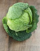 Fresh Savoy Cabbage on wooden background