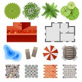 stock photo of blueprints  - Highly detailed landscape design elements  - JPG