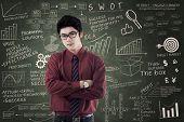 Asian Businessman Standing Over Success Formula