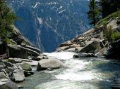 River Dropping Off Edge Of Yosemite Falls