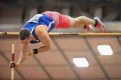 LINZ, AUSTRIA - JANUARY 31 Lucas Bechyne (#602 Czech Republic) places 5th in the men's pole vault ev
