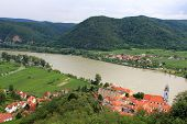 WACHAU, AUSTRIA - AUGUST 11 : Durnstein Abbey and the Community along the Danube river on August 11,