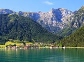 AUSTRIA - AUGUST 17 : The village along the Achensee Lake on August 17, 2012 in Tirol, Austria. The