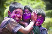 BANGALORE, INDIA - MARCH 8: A group of unidentified young boys celebrates the f