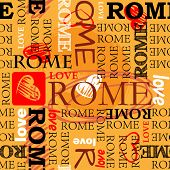 art seamless vector pattern background with word Rome