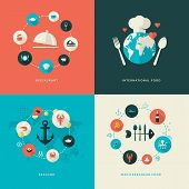 Set of flat design concept icons for restaurant