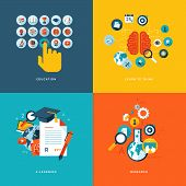 Set of flat design concept icons for online education