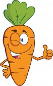 Winking Carrot Cartoon Character Holding A Thumb Up