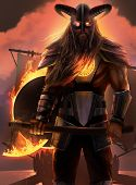 stock photo of viking ship  - The art of fantasy viking standing with axe - JPG