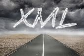 The word xml against misty brown landscape with street