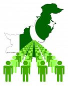 Lines of people with Pakistan map flag vector illustration