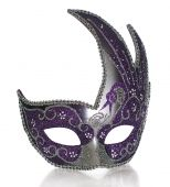 pic of masquerade mask  - A fancy venetian mask shot against a white background with part of it - JPG