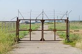 The gates At The Entrance To The Airfield In The Crimea