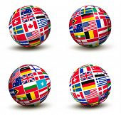 Flags of the world in globe. Raster version.