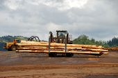 image of logging truck  - Log loader working a lumber mill logging truck reciving yard in Roseburg Oregon - JPG
