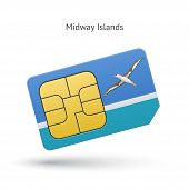 Midway Islands mobile phone sim card with flag.
