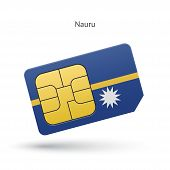 Nauru mobile phone sim card with flag.