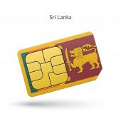 Sri Lanka mobile phone sim card with flag.