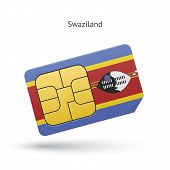 Swaziland mobile phone sim card with flag.