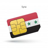Syria mobile phone sim card with flag.
