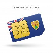 Turks and Caicos Islands mobile phone sim card with flag.