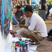 Sprayer on the Latir Latino Festival in Lima, Peru