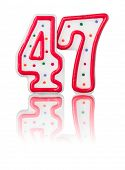 Red number 47 with reflection on a white background