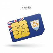 Anguilla mobile phone sim card with flag.