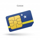Curacao mobile phone sim card with flag.
