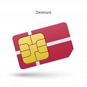 Denmark mobile phone sim card with flag.