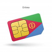 Eritrea mobile phone sim card with flag.
