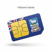 Falkland Islands mobile phone sim card with flag.