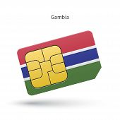 Gambia mobile phone sim card with flag.
