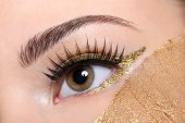 Macro shot of a woman eye with a false eyelashes and yellow, golden make-up