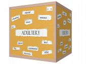 Adultery 3D Cube Corkboard Word Concept