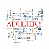 stock photo of adultery  - Adultery Word Cloud Concept with great terms such as sexual affair lies and more - JPG