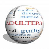 Adultery 3D Sphere Word Cloud Concept
