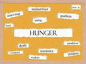 Hunger Corkboard Word Concept