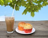 Ice Coffee And Muffins.