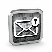 Mail Icon With Seven Unread Messages On A White Background