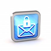 Blue Striped Icon With Letter And Lock On A White Background