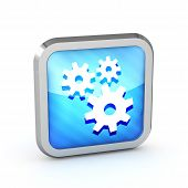 Blue Striped Icon With Gears On A White Background