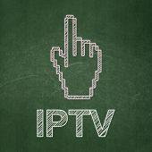 Web development concept: Mouse Cursor and IPTV on chalkboard background
