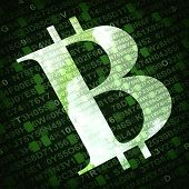 foto of bit coin  - Bit coin the virtual currency symbol illustration with numbers and letters on background - JPG